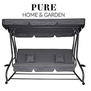 Pure Home & Garden 4-Sitzer XXL Hollywoodschaukel mit Liegefunktion Askim Anthrazit, einfach klappbar, 232 cm