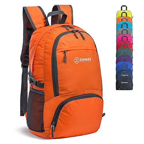 ZOMAKE Faltbar Rucksäcke Reisen - Unisex 30 L Ultraleicht Tagesrucksack Wandern Wanderrucksack (Orange)
