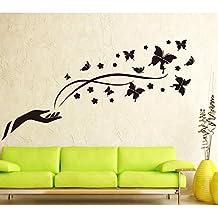 Negro mariposas adhesivo decorativo para pared casa de vinilo extraíble papel pintado de salón dormitorio cocina arte imagen PVC Murales de ventana puerta decoración + 3d rana coche adhesivo regalo