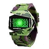 Kinder Sports Digital Uhren für Jungen, 5 ATM Wasserdicht Outdoor Sport Uhr mit Alarm/LED-Licht/Datum/Stoppuhr, Elektronische Armbanduhr für Junior Jugendliche Kinder Jungen (grün)