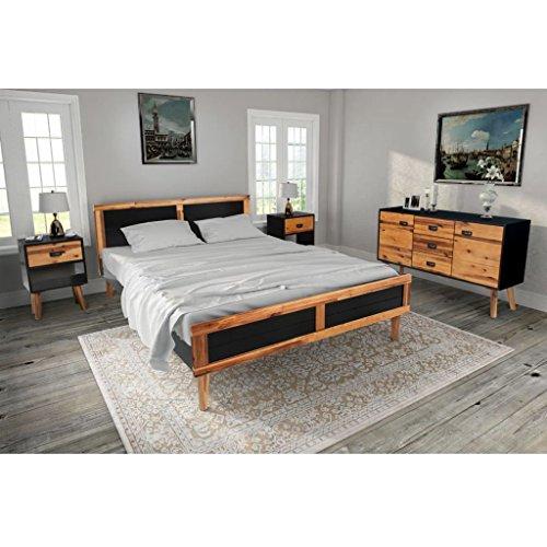 ... Lingjiushopping 4 Stück Set Möbel Schlafzimmer Massivholz Akazie 180 X  200 Cm Farbe: Schwarz Und