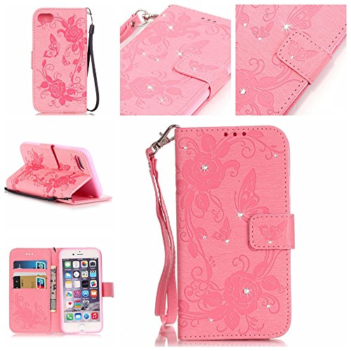 iPhone 7 Coque Flip Case,iPhone 7 Coque Cuir,iPhone 7 Leather Case Wallet Flip Protective Cover Protector,iPhone 7 Coque Fleur Etui,iPhone 7 Coque Portefeuille PU Cuir Etui, EMAXELERS Bling Cristal Ca I Diamond Butterfly 3