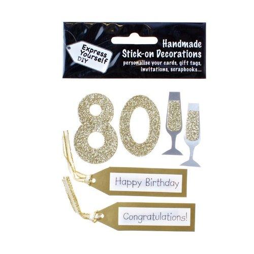 DIY Luxus- 3D-Sticker Zahl 80 gold Glitter - Gold Glitter Scrapbooking