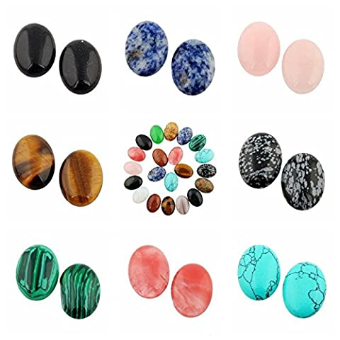 Cmidy 20pcs 25x18mm Gemstone Healing Crystal Chakra Beads Oval CAB Cabochon Teardrop DIY Stone Wholesale Beads (Mixed Randow) (20)