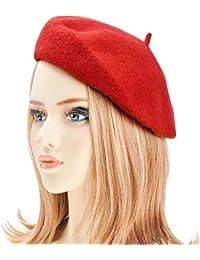 dressfan Boina Francesa para Mujeres Niñas otoño Invierno Boina Sombrero  Lana Calabaza Sombreros Ladie otoño Invierno cad0a710996