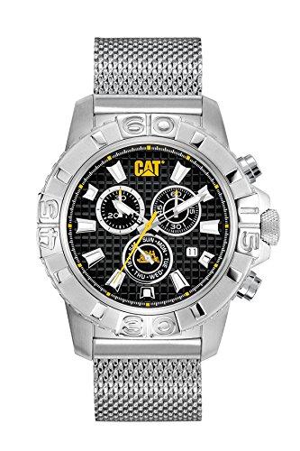 CAT Alaska Chrono-Orologio da uomo al quarzo con Display analogico e cinturino in acciaio INOX color argento CA.143,01.121