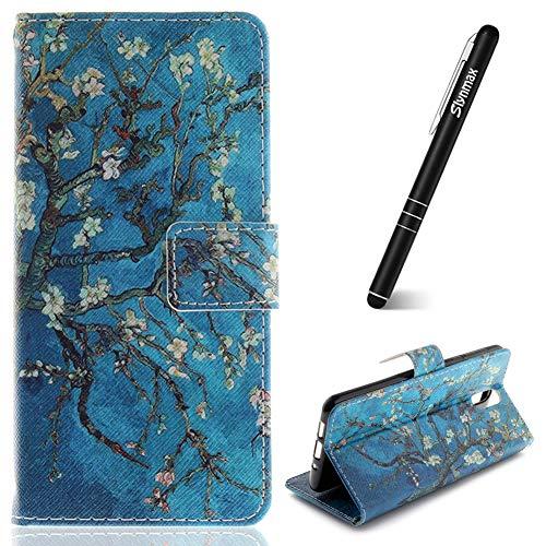 Nokia 3.12018Fall, slynmax Nokia 3.12018Case Flip Folio Geldbörse Leder Hülle + 1* Stylus Touch Pen Apricot Tree