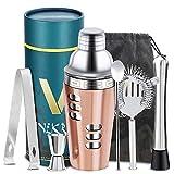 Vinekraft Set per la preparazione di cocktail Accessori per cocktail Set di shaker per cocktail professionale con filtro Jigger Muddler e cucchiaio - 6 pezzi