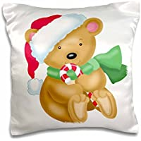 Anne Marie Baugh - Christmas - Cute Little Santa Bear Illustration With A Candy Cane - 16x16 inch Pillow Case