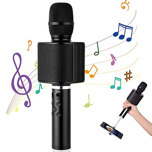 Karaoke Mikrofon, Mbuynow Kinder Mikrofon Bluetooth TWS 4.1 mit Selfiestick Kabelloses Microfon mit KTV Stereo Effekt (schwarz)