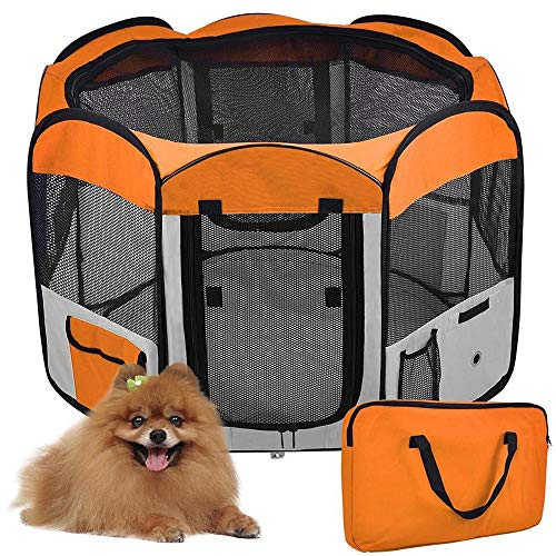 WeFun Laufstall Hund,Welpenlaufstall für Hunde,Hundehütte Welpenauslauf Laufstall für Hunde Welpenlaufstall Katzenhaus (Orange)