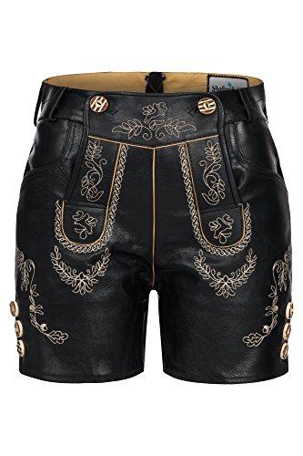 Erlesene Damen Trachten Lederhose kurz , mit toller Stickerei, Schwarz,Gr.38