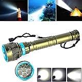 Longra Flash,Submarino 200m 20000LM 7x XM-L2 Linterna de buceo con LED, 3X18650 / 26650 Antorcha