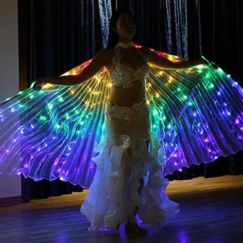 Flügel Kostüm Licht - Dasongff Isis Flügel LED Artikel Bauchtanz mit Teleskopstangen Engelsflügel Leistung Kostüm LED-Licht Wings spaß Darstellende Künste (B, 1PC Flügel)