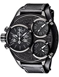 DETOMASO Herren-Armbanduhr  Triplo Black mit 3 Zeitzonen, schwarzem Edelstahl-Gehäuse und schwarzem breitem Unterleg-Armband. Sehr große und wasserdichte Quarz Herren-Uhr mit schwarzem Zifferblatt.
