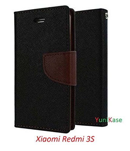 YuniKase Wallet Style Flip Cover for Mi Redmi 3S (Black Brown)
