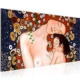 Bilder Gustav Klimt - Mutter und Kind Wandbild Vlies - Leinwand Bild XXL Format Wandbilder Wohnzimmer Wohnung Deko Kunstdrucke Braun 1 Teilig - MADE IN GERMANY - Fertig zum Aufhängen 700212a