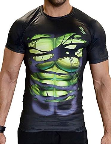 Spiderman | Batman Superman Hulk Captain America Compression Shirt for Men / Men (Sport-Shirt Functional T-Shirt), Hulk schwarz kurzarm,