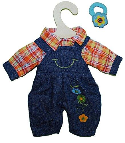 Unbekannt 2 TLG. Set Puppenkleidung Latzhose + Bluse blau Gr. 28 - 33 cm Kleidung - incl. Haargummi - Kleid für die Puppe - Kleidung Bekleidung Puppenbekleidung