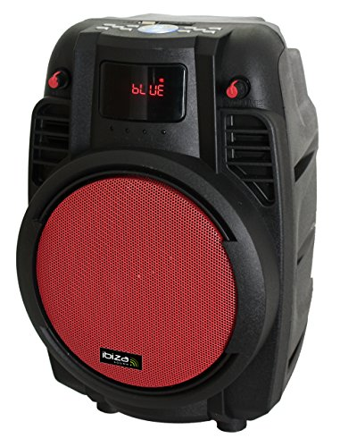 Ibiza POWER6-PORT-R Diffusore portatile 6' amplificato 50 watts con USB, SD, bluetooth e 1 microfono wireless, rosso