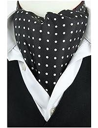 White Dots on Black Fine Silk Cravat