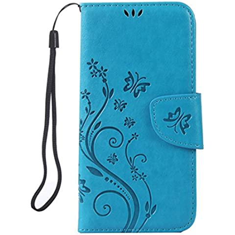 RanRou Samsung Galaxy S7 Edge Case Leather Case [Butterfly Flower Pattern],Samsung Galaxy S7 Edge Case Flip PU Leather Wallet Card Slot Stand Case Cover For Samsung Galaxy S7 Edge Case -sky blue