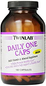 Twinlab Daily One Caps Multi-Vitamin and Multi-Minerals without Iron, 180 Capsules