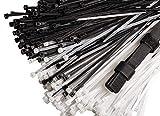 Stepton Paquete de 300 Bridas para Cables de 8 Pulgadas de 3,6 mm de Ancho en Nailon Negro y Blanco de Incluye 10 Recogedores de Cables