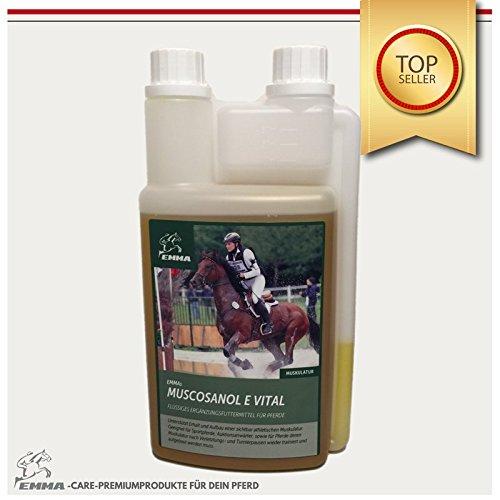 EMMA ♥ Reiskeimöl für Pferde - Pferdefutter unterstützt Muskelaufbau I flüssiges Zusatzfutter I Gamma-Oryzanol + Vitamin E für Leistung & Muskulatur I Senioren Futter 1 L