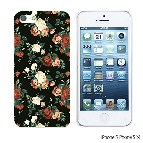 OBiDi - Fabric Pattern Hard Back Case / Housse pour Apple iPhone 5S / Apple iPhone 5 - Pink Boho Pattern Red Roses In Black Background