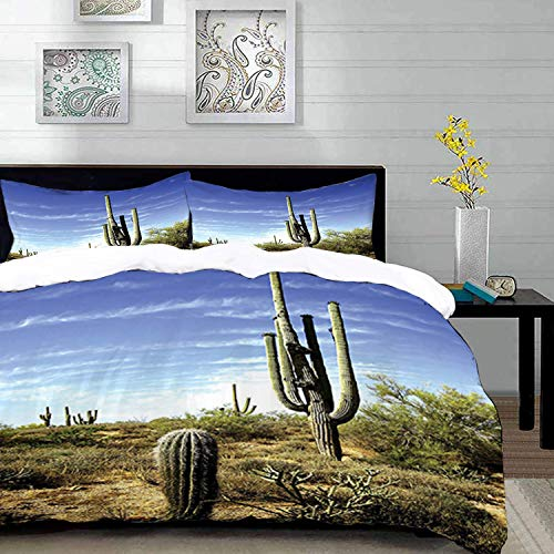 Yaoni Bettwäsche-Set, Mikrofaser,Saguaro Kaktus von, Tall Saguaro Cactus mit Spined Leaves Desert Pflanzen Sunny Day Picture Print, Multicolor, 1 Bettbezug 200 x 200cm + 2 Kopfkissenbezug 80x80cm -