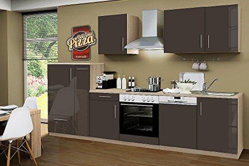 idealShopping GmbH Küchenblock ohne Elektrogeräte Premium 310 cm in lava glänzend (Geschirrspüler geeignet)