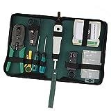 AllRight Netzwerk Werkzeug Set 9-teilig Elektronik Crimpzange LAN LSA Kabeltester Auflege