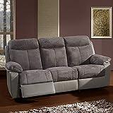 Medora Elektrische Relaxsofa, 3-Sitzer, Grau