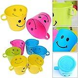 6pcs plastique multicolores à dents Sourire Face Cups Bouche avec poignée tasse vert par Ungfu Mall