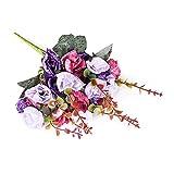 Ya Jin 3Premium künstlicher Rosen Brautstrauß Home Party Decor Multi Farben erhältlich violett