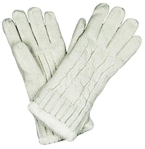 Mevina Damen Handschuhe warm mit Teddyfell gefüttert Zopf Strick Muster Gloves Winter