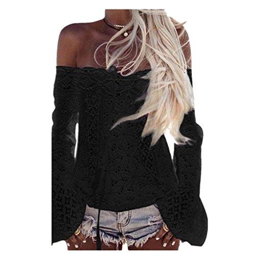 Donne-Camicetta-KolyDonne-A-spalle-merletto-lungo-del-manicotto-camicetta-allentata-Tops-T-shirt-Asian-SizeL-Black
