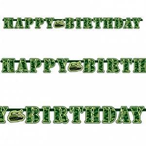 """Banderole de lettres anniversaire """"Happy Birthday"""" Armée Camouflage"""