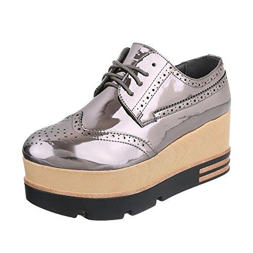 Ital-Design Schnürer Damen-Schuhe Oxford Schnürer Schnürsenkel Halbschuhe Silber Grau, Gr 41, 6996-P-