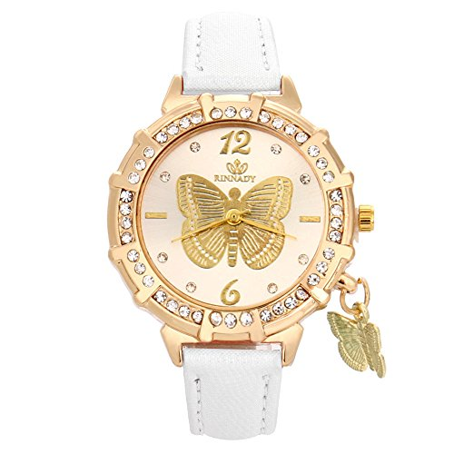 Skang Damen Armbanduhr Rund Analog Quarz Schmetterling Muster Anhänger Diamant Strass Armbanduhr Für Frau Lady Teenager Mädchen(one Size,Weiß)
