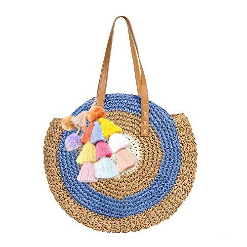 Peng Sheng Runde Stroh Strandtasche Quaste Handgemachte Rattan Woven Straw Handtasche Sommer-Strandtasche im Freien Strand Rattan-rucksack