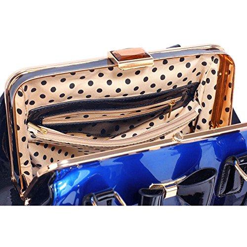 TrendStar Frauen neuer Designer-Handtaschen Damen Berühmtenart Kunstleder Taschen B - Marine