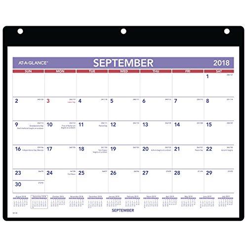 9 Akademischer Jahreskalender für Schreibtisch und Wandkalender, klein, 11 x 8 mm, transparenter Deckel, Vinylhalter (SK700) ()