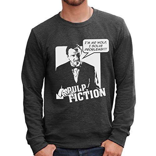 Felpa girocollo I'M MR WOLF I SOLVE PROBLEMS PULP FICTION - FILM by MUSH Dress Your Style - Uomo-M-ANTRACITE MELANGE