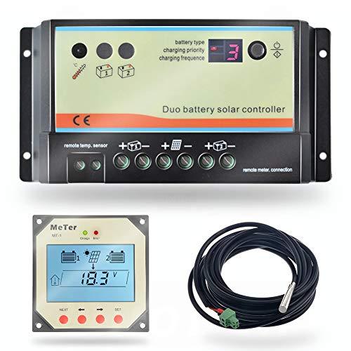 PWM 20A Regolatore di carica a doppia batteria, 12V 24V Auto per camper, barca, roulotte, bus o sistema solare a due batterie (DB 20A + MT1 + RTS)