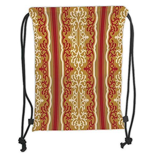 1cfb5ca68f497 Drawstring Backpacks Bags,Arabesque,Middle Eastern Swirl Floral Ornament  Branches Motif Oriental Artwork,Ruby Light Coffee Cream Soft Satin,5 Liter  ...