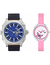 SVM VL44VT03 New Couple Combo Designer Stylish Leather & Plastic Belt Analog Watch For Men & Women