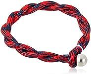 Tommy Hilfiger Men's Stainless Stell & Red & Navy Cotton Bracel
