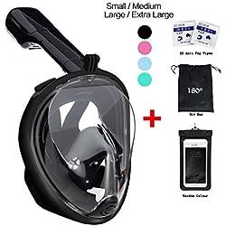 180degrés de plongée Tuba par vaporcombo sans haleine, Anti-Buée et anti-fuite pour plongée masque W/fixation GoPro + sans accessoires - Noir - X/XL